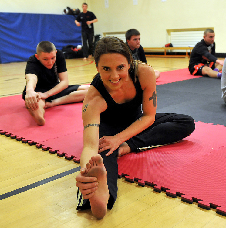 Sporty Spice Melanie Chisholm, was back in her home town of Liverpool ,to see first hand how Comic Relief cash is helping youngsters of Merseyside...Donning red nose and boxing gloves, Mel showed just why she earned her title SPORTY, putting youngsters from SPORT ALIVE at the Alsop High School In Walton ..Pic Dave Nelson .