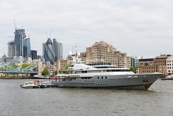 © Licensed to London News Pictures. 13/05/2018. London, UK. Alan Sugar's luxury superyacht, Lady A moored at Butlers Wharf on the River Thames today shortly before Alan Sugar sailed it under Tower Bridge and paraded it in the Upper Pool in central London, before passing under Tower Bridge again and travelling along the river. Alan Sugar reportedly purchased the 181 feet long yacht in 2015 and renamed her Lady A after his wife, Ann and it includes a jacuzzi and can sleep up to 12 guests. Lady A is reportedly still up for sale at around £13m after being put on the market last year, or it can be chartered with prices starting from around £12,500 per week. Photo credit: Vickie Flores/LNP