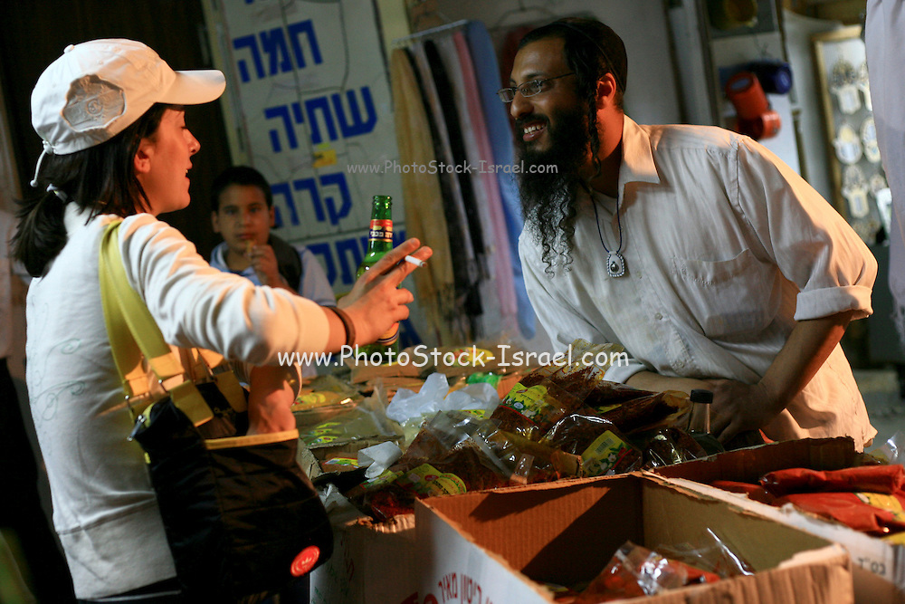 Israel, Mount Meron, Selling of spices at the Hillula (a celebration day) for Rabbi Simeon bar Yohai at Lag Baomer in Meron mountain, near Tzefat, the burial place of Rabbi Simeon bar Yochai and his son, Rabbi Eleazar ben Simon. hundred of thousands of people come each year to celebrate with lighting fires, candles, singing and feasting. On May 22, 2008.