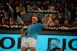 May 9, 2019 - Madrid, Spain - Rafa Nadal of Spain celebrates victory in his match against GaÃ«l Monfils of France during day six of the Mutua Madrid Open at La Caja Magica in Madrid on 9th May, 2019. (Credit Image: © Juan Carlos Lucas/NurPhoto via ZUMA Press)