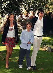 Left to right, LADY ISABELLA SOMERSET(check), the HON.ALEXANDER SOMERSET(check),  and the EARL OF GLAMORGAN children of the Marquess of Worcester (Henry Somerset) at the wedding of musician Jools Holland to Lady Crystabel Durham held at Cooling Village Church, Cooling, Kent on 30th August 2005.<br />