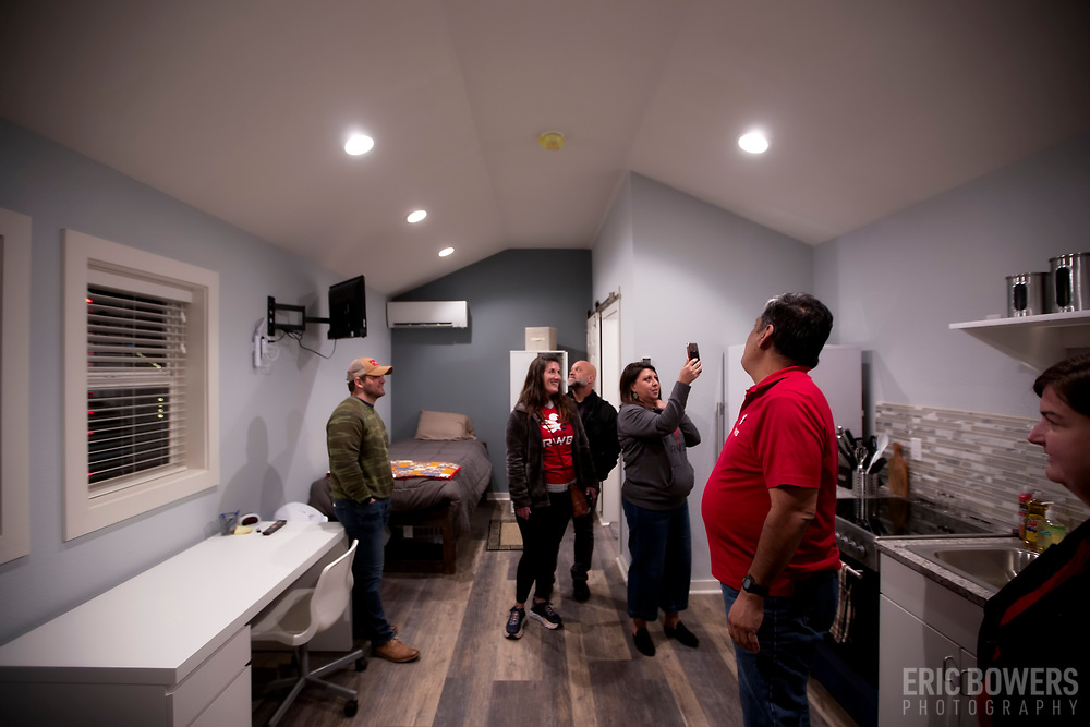Christmas Lighting and Tour of Veteran's Community Project, Kansas City, Missouri at 89th and Troost - a tiny house initiative for housing solutions for USA military veterans who have returned stateside.