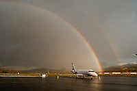A storm passing through the Lakes Region on October 15, 2011 presenting a double rainbow.