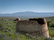 The remains of what were once 16 charcoal kilns built in 1886 by Montanan Warren C. King bask in the sun at the Charcoal Kilns Historic Site on Friday, July 10, 2020, in Lemhi County, Idaho. Four kilns in various states of preservation can be viewed on a self-guided tour after a 5-mile drive on a gravel road. The brick kilns were used to turn timber into charcoal. The charcoal powered a smelter in Nicholia, across the Birch Creek Valley, to process lead and silver from the Viola Mine. The kilns are now part of the Caribou-Targhee National Forest. (© 2020 Cindi Christie/Cyanpixel)