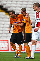 Football - Dalymount Park - Bohemians FC v Wolverhampton Wanderers. <br /> Steven Fletcher (Wolves) celebrates scoring Wolves second goal in a pre-season friendly between League of Ireland champions Bohemians FC and Wolverhampton Wanderers at Dalymount Park in Dublin.