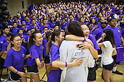 Milpitas High School seniors celebrate a game victory during the annual Trojan Olympics, where students compete in various unorthodox events for class bragging rights, at Milpitas High School in Milpitas, California, on March 27, 2015. (Stan Olszewski/SOSKIphoto)