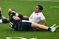 Rugby Union - 2021 U20 Six Nations - Round Two - England vs Scotland - Cardiff Arms <br /> <br /> Deago Bailey England Under 20s tackled by Michael Gray Scotland Under 20s<br /> <br /> COLORSPORT/WINSTON BYNORTH