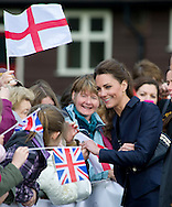 """CATHERINE MIDDLETON.Shows off her engagement-ring..Prince William and Kate Middleton visited Lancashire on their final public engagements before their wedding in 18 days.The Royal couple visited the Darwen Aldridge Community Academy (DACA) followed by a visit to Witton Country Park to view activities that took place to highlight the importance of outdoor recreational spaces.Miss Middleton was invited to start a 100m race and presented the winner with a medal.The Royal couple also took time to walk about and meet the crowds that had waited through torrential weather conditions. As the Couple carried out their duties the skies cleared and the Sun shone though. Darwen_11/04/2011.Mandatory Credit Photo: ©Alexander Dias/NEWSPIX INTERNATIONAL..**ALL FEES PAYABLE TO: """"NEWSPIX INTERNATIONAL""""**..IMMEDIATE CONFIRMATION OF USAGE REQUIRED:.Newspix International, 31 Chinnery Hill, Bishop's Stortford, ENGLAND CM23 3PS.Tel:+441279 324672  ; Fax: +441279656877.Mobile:  07775681153.e-mail: info@newspixinternational.co.uk"""