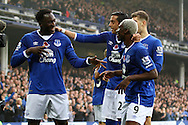 Arouna Kone of Everton (r) celebrates with his teammates and fellow goalscorer Romelu Lukaku (l)  after scoring his teams 6th goal (his 3rd to complete his hat trick). Barclays Premier League match, Everton v Sunderland at Goodison Park in Liverpool on Sunday 1st November 2015.<br /> pic by Chris Stading, Andrew Orchard sports photography.