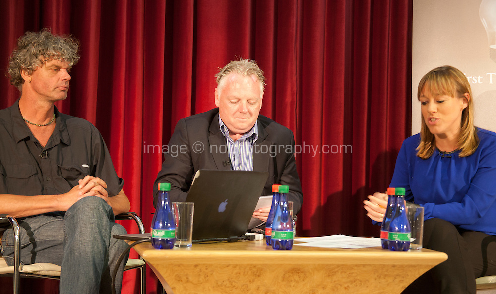 Remaking the Shape of the World, Dutch Photo Journalist Kadir Van Lohuizan and John Roche, Interim Secretary General of the Irish Red Cross discuss Climate Change,  chaired by Journalist Evelyn O'Rourke as part of Galway International Arts Festival First Thought Talks, Galway City, Saturday 18th July 2015. Photo credit: Doreen Kennedy