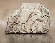 Marble Releif Sculptures from the south  frieze around the Parthenon Block XLVI 142-144. From the Parthenon of the Acropolis Athens. A British Museum Exhibit known as The Elgin Marbles .<br /> <br /> If you prefer to buy from our ALAMY STOCK LIBRARY page at https://www.alamy.com/portfolio/paul-williams-funkystock/greco-roman-sculptures.html . Type -    Elgin    - into LOWER SEARCH WITHIN GALLERY box - Refine search by adding a subject, place, background colour, etc.<br /> <br /> Visit our ROMAN WORLD PHOTO COLLECTIONS for more photos to download or buy as wall art prints https://funkystock.photoshelter.com/gallery-collection/The-Romans-Art-Artefacts-Antiquities-Historic-Sites-Pictures-Images/C0000r2uLJJo9_s0