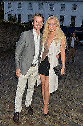 EMMA NOBLE and her husband CONRAD BAKER arrive to celebrate her 43rd birthday at Toto's Restaurant, Walton Street, London on 26th June 2014.