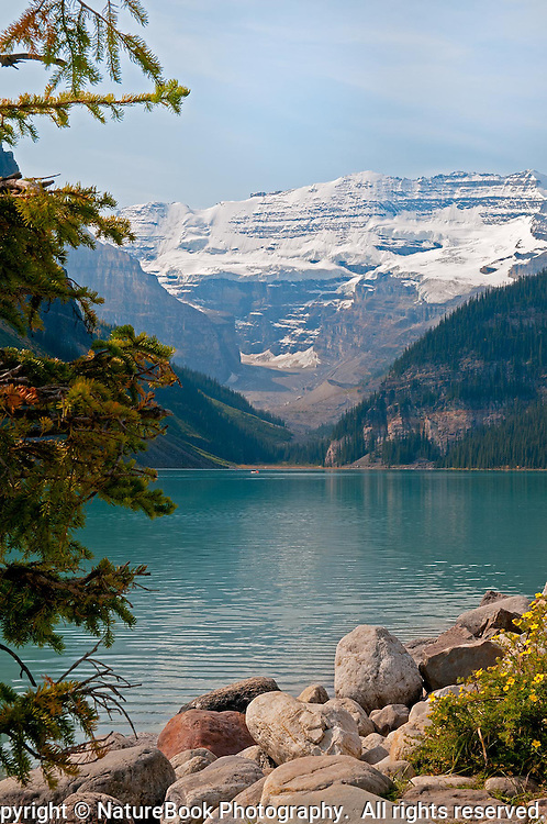 The majesty of Lake Louise and surrounding mountains is matched only by the extreme quiet in and around the lake, which pleases the eye and stirs the soul.  Banff National Park, Western Canada