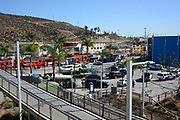 Red Line Trolley at the USA Mexico Border in San Ysidro California
