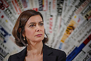 Laura Boldrini durante la presentazione della consultazione pubblica online sull'Unione europea nella sede della Stampa Estera, Roma 9 febbraio 2016. Christian Mantuano / OneShot<br /> <br /> Laura Boldrini during the presentation of the European Union public consultation, Rome Febraury 9, 2016. Christian Mantuano / OneShot