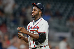 May 31, 2018 - Atlanta, GA, U.S. - ATLANTA, GA Ð MAY 31:  Atlanta relief pitcher Arodys Vizcaino (38) rubs up a ball between pitches during the game between Atlanta and Washington on May 31st, 2018 at SunTrust Park in Atlanta, GA.  Vizcaino earned the save.  The Atlanta Braves beat the Washington Nationals by a score of 4 - 2.  (Photo by Rich von Biberstein/Icon Sportswire) (Credit Image: © Rich Von Biberstein/Icon SMI via ZUMA Press)