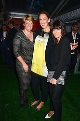 Left to right, CLARE BALDING, MIRANDA HART and CLAUDIA WINKLEMAN at the Glamour Women of the Year Awards in association with Pandora held in Berkeley Square Gardens, London on 4th June 2013.