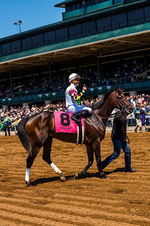 Peruvian jockey Miguel Mena, Keeneland Racecourse, Lexington, Kentucky USA.