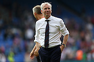 Alan Pardew, the Crystal Palace manager looks on while his squad do a lap of honour around the pitch after full time. Barclays Premier League match, Crystal Palace v Stoke City at Selhurst Park in London on Saturday 7th May 2016. pic by John Patrick Fletcher, Andrew Orchard sports photography.