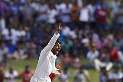July 22, 2018 - Colombo, Sri Lanka - Sri Lankan cricketer  Akila Dananjaya celebrates after taking a wicket during the 3rd day's play in the 2nd test cricket match between Sri Lanka and South Africa at SSC International Cricket ground, Colombo, Sri Lanka on Sunday  22 July 2018  (Credit Image: © Tharaka Basnayaka/NurPhoto via ZUMA Press)