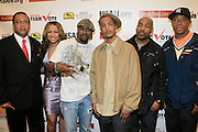 """Dr. Ben Chavis, Valiehsa Butterfield, Black Ice, T.I., DJ Toomp and Russell Simmons  at The Hip Hop Research and Education Fund(HREF), PowerPAC and the HipHop Summit Action Network (HSAN) present the national """"HipHop Team Vote: Turn Up the Vote"""" campaign event held at Temple University's Liacouras Center Arena on April 20, 2008 ..The HipHop Team Voe: Turn up the Vote brings together hiphop stars and community activists to send a strong, clear message to 18-35 year olds about the importance of voting in the Pennsylvania primary and national presidential election."""