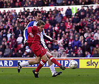 Photo. Glyn Thomas.<br /> Middlesbrough v Blackburn Rovers. Premiership. <br /> Riverside Stadium, Middlesbrough. 07/02/2004.<br /> Boro's Juninho fails to make the most of his side's best chance to equalise and puts it wide.