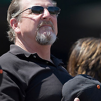 13 April 2008: A Giants' fan stands during the National Anthem prior to the San Francisco Giants 7-4 victory over the St. Louis Cardinals at the AT&T Park in San Francisco, CA.