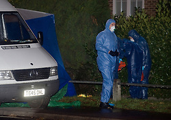 """©London News pictures... 17/11/2010. Police at the scene of the shooting. One person has died today (Wed) and a number of people have been arrested in a """"serious incident"""" in Sunningdale, Berkshire."""