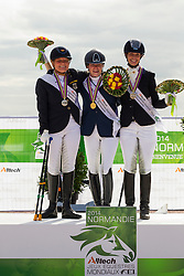 Podium Freestyle Test Grade III Para Dressage 1. Sanne Voets and Vedet PB N.O.P. 2. Hannelore Brenner and Women of the World, 3. Annika Lykke Risum and Aros A Fenris - Alltech FEI World Equestrian Games™ 2014 - Normandy, France.<br /> © Hippo Foto Team - Leanjo de Koster<br /> 25/06/14