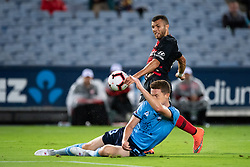 December 15, 2018 - Sydney, NSW, U.S. - SYDNEY, NSW - DECEMBER 15: Sydney FC midfielder Brandon O'neill (13) and Western Sydney Wanderers midfielder Kostandinos Grozos (6) battle for the ball at the Hyundai A-League Round 8 soccer match between Western Sydney Wanderers FC and Sydney FC at ANZ Stadium in NSW, Australia on December 15, 2018. (Photo by Speed Media/Icon Sportswire) (Credit Image: © Speed Media/Icon SMI via ZUMA Press)