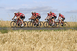 July 4, 2018 - Mouilleron Le Captif, France - MOUILLERON-LE-CAPTIF, FRANCE - JULY 4 : GREIPEL Andre  (GER)  of Lotto Soudal, SIEBERG Marcel  (GER)  of Lotto Soudal, BENOOT Tiesj  (BEL)  of Lotto Soudal, KEUKELEIRE Jens  (BEL)  of Lotto Soudal, DE BUYST Jasper  (BEL)  of Lotto Soudal, DE GENDT Thomas  (BEL)  of Lotto Soudal and VANENDERT Jelle  (BEL)  of Lotto Soudal during a team reconnaissance of stage 1 prior the 105th edition of the 2018 Tour de France cycling race, a stage of 201 kms between Noirmoutier-en-l'Ile and Mouilleron-Le-Captif on July 04, 2018 in Mouilleron-Le-Captif, France, 4/07/18 ( Motordriver Kenny Verfaillie - Photo by Jan De Meuleneir / Photonews. (Credit Image: © Panoramic via ZUMA Press)