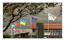 Sailing - The Olympic Sailing 470 Class Holding the Europeans at Largs, North Ayrshire Scotland..Nation Flags at the Clubhouse