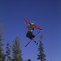 SKIING, Ben Wiltsie (MR) jumps in terrain park at Mammoth Mountain Ski Area, CA.