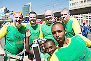 22/11/2015  repro fee. A group of  irish people travelled with Gorta-Self Help Africa travelled to the capital of Ethiopia Addis Ababa for the great Ethiopian run. In temperatures in the mid 30 degree heat and 40,000 people and a city at 7,500 feet above sea level, it's no mean feat. Ronan Scully, Gorta Self Help Africa, Aidan Power Rte, Brian Smith, Blackrock, Cork, and Jimmy Cooke from Roscommon at the end of the race   .  Photo:Andrew Downes.