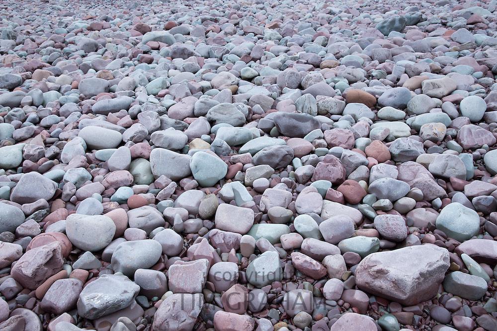 Pebbly beach at Turkey Island by Porlock Weir in Somerset, United Kingdom