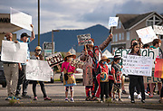 Gianna Willard Flanery with her children Mallory, Jazon and Kevin join a Black Lives Matter protest dressed in regalia on Saturday, June 6, 2020 at Tongass Avenue and Jefferson Street in Ketchikan, Alaska. Willard Flanery is Haida and Tlingit.