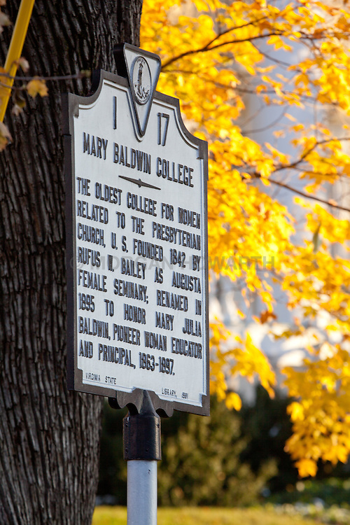 Mary Baldwin College autumn leaves and historical sign