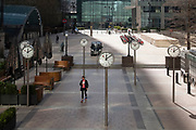Fea0094740. Daily Telegraph <br /> <br /> DT News<br /> <br /> A relatively empty Canary Wharf , one of London's financial districts , on the first day of an official lockdown in Britain's capital city because of the Covid-19 Pandemic .<br /> <br /> London  24 March 2020