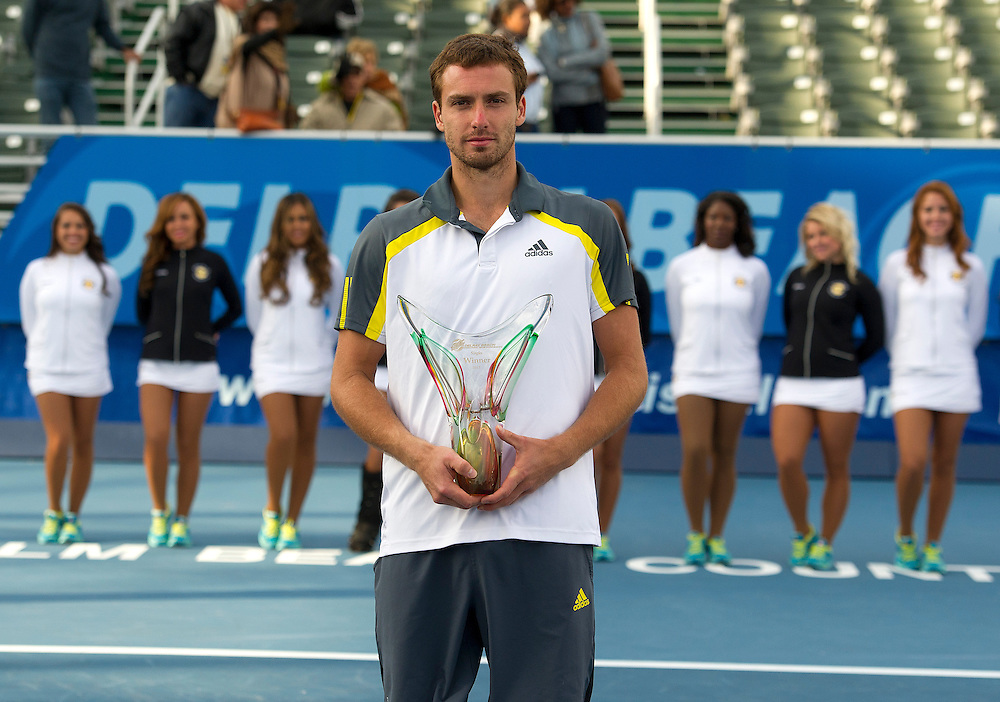 Ernests Gulbis (LAT) poses with the trophy after his victory over Edouard Roger-Vasselin (FRA) in their Final match today - Ernests Gulbis (LAT) def Edouard Roger-Vasselin (FRA) 7-6(3) 6-3..ATP 250 Tennis - 2012 Delray Beach International Tennis Championships - Day 7 -  Sunday 3rd March 2013 - Delray Beach Stadium & Tennis Center - Delray Beach - Florida - USA..© CameraSport - 43 Linden Ave. Countesthorpe. Leicester. England. LE8 5PG - Tel: +44 (0) 116 277 4147 - admin@camerasport.com - www.camerasport.com