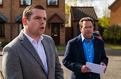 Haddington, East Lothian, Scotland, United Kingdom, 5th May 2021. Scottish election campaign: Scottish Conservative & Unionist party leader, Douglas Ross, visits in support of their candidate Craig Hoy, Conservative councillor on the last day of electioneering before polling places open tomorrow.<br /> Pictured: Douglas Ross and Craig Hoy in Gateside housing estate<br /> Sally Anderson | EdinburghElitemedia.co.uk