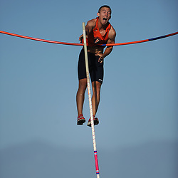 9 April, 2010 Cal State Fullerton's Shawn McNany catches the bar on the pole vault during the Big West Challenge at UC Irvine in Irvine, CA.