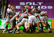 Sale Sharks lock Cobus Wiese controls a maul during a Gallagher Premiership Round 7 Rugby Union match, Friday, Jan. 29, 2021, in Leicester, United Kingdom. (Steve Flynn/Image of Sport)