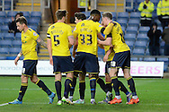 Oxford United midfielder Alex MacDonald celebrates scoring opening goal during the Sky Bet League 2 match between Oxford United and Carlisle United at the Kassam Stadium, Oxford, England on 12 December 2015. Photo by Alan Franklin.