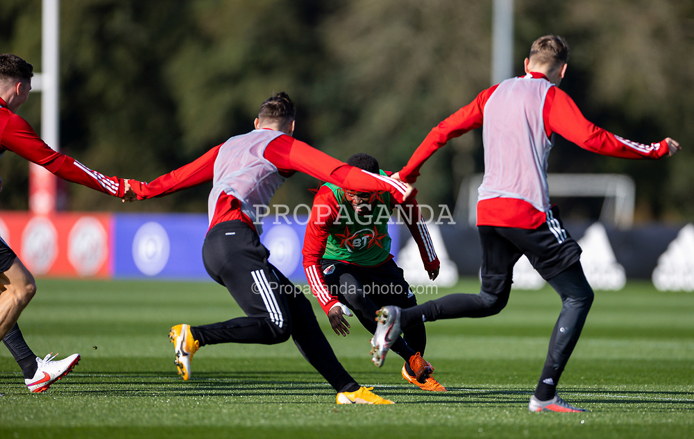 CARDIFF, WALES - Wednesday, October 7, 2020: Wales' Rabbi Matondo during a training session at the Vale Resort ahead of the International Friendly match against England. (Pic by David Rawcliffe/Propaganda)