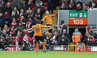 Football - 2016 / 2017 FA Cup - Fourth Round: Liverpool vs. Wolverhampton Wanderers<br /> <br /> Andreas Weimann of Wolverhampton Wanderers celebrates during the match at Anfield.<br /> <br /> COLORSPORT/LYNNE CAMERON