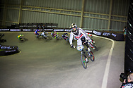 #65 (PHILLIPS Liam) GBR leads the whole way in the final at the UCI BMX Supercross World Cup in Manchester, UK