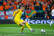 England goalkeeper Jordan Pickford (Everton) clears the ball during the UEFA Nations League semi-final match between Netherlands and England at Estadio D. Afonso Henriques, Guimaraes, Portugal on 6 June 2019.