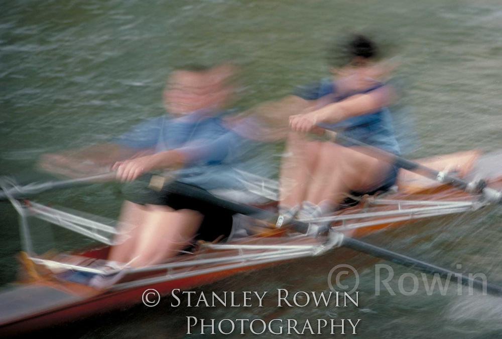 Head of the Charles, regatta motion blur, action shot, skull, rowing