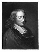 Blaise Pascal (1623-62) French philosopher, mathematician, physicist and theologian. Steel engraving c1830.