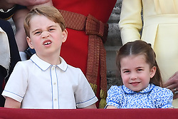 Members of The Royal Family attend Trooping the Colour at Buckingham Palace, London, UK, on the 8th June 2019. 08 Jun 2019 Pictured: Prince George, Princess Charlotte. Photo credit: James Whatling / MEGA TheMegaAgency.com +1 888 505 6342